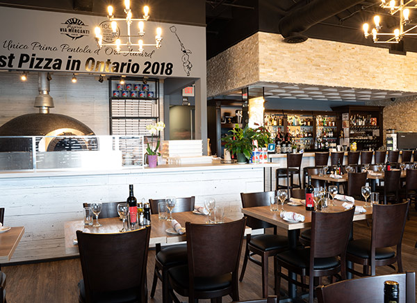View of the Open Kitchen at Pizzeria Via Mercanti at the Woodbridge Location Woodbridge Gallery